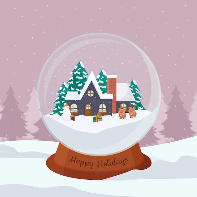 Flache designweihnachtsschneeballkugel Kostenlosen Vektoren