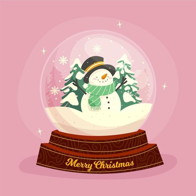 Flache designweihnachtsschneekugelkugel mit schneemann und bäumen Kostenlosen Vektoren