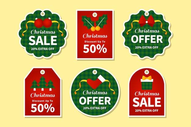 Flache designweihnachtsverkaufs-tag-sammlung Kostenlosen Vektoren