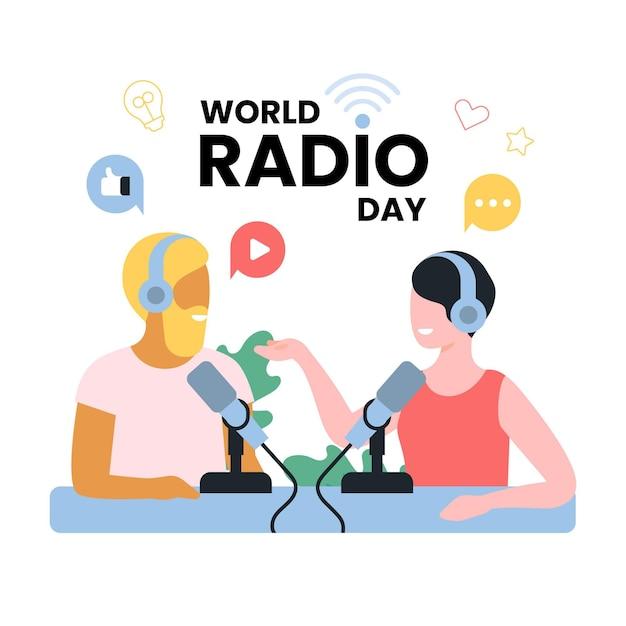 Flache designwelt radio tag mann und frau auf luft konzept Kostenlosen Vektoren