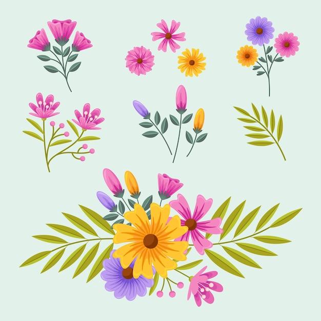 Flache detaillierte frühlingsblumensammlung Kostenlosen Vektoren