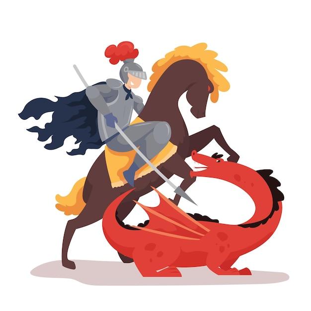 Flache diada de sant jordan illustration mit ritter auf pferdekampfdrachen Kostenlosen Vektoren