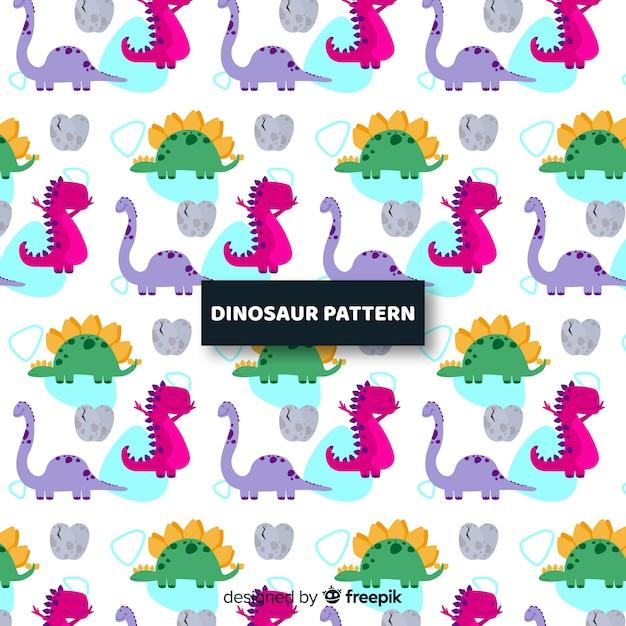 Flache dinosaurier-muster Kostenlosen Vektoren
