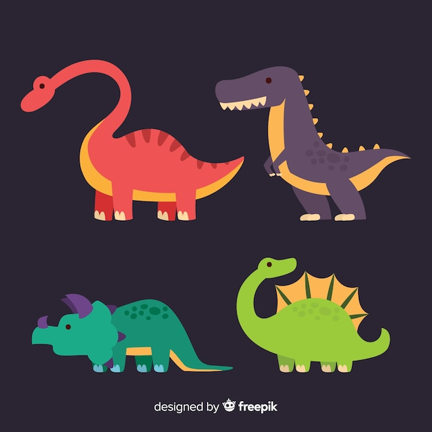 Flache dinosauriersammlung Kostenlosen Vektoren