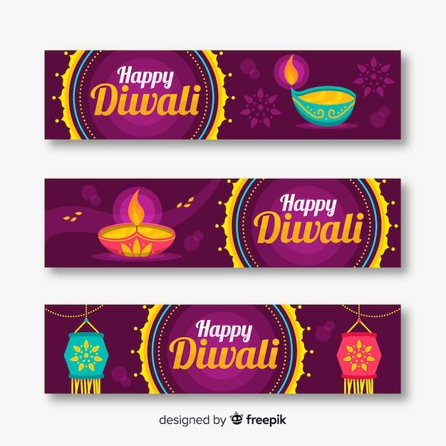 Flache diwali-web-banner Kostenlosen Vektoren