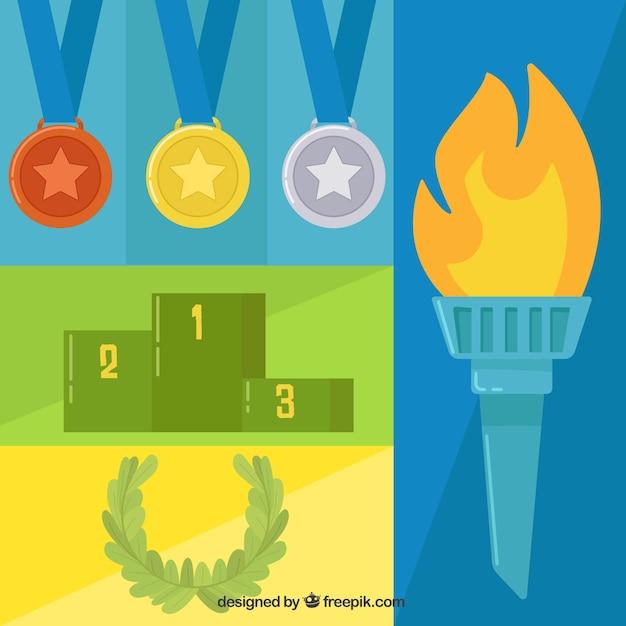 Flache elemente der olympischen spiele Kostenlosen Vektoren