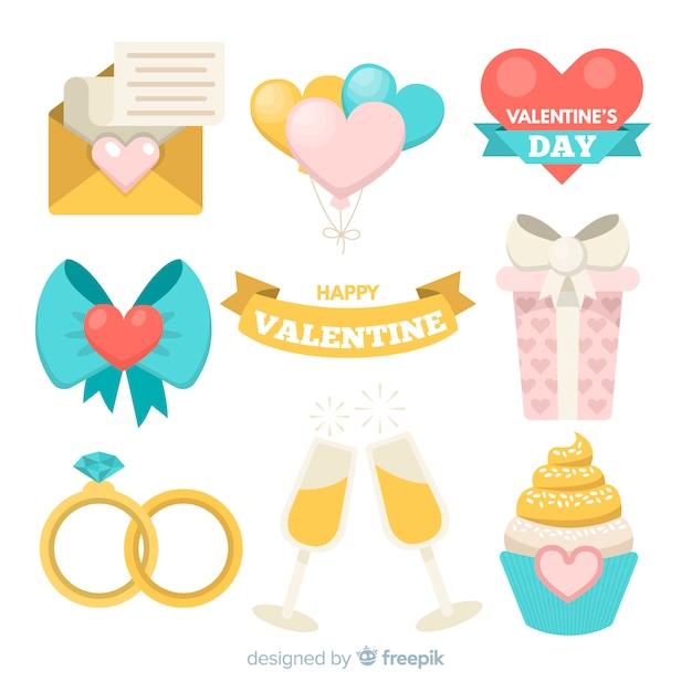 Flache elemente des valentinstags Kostenlosen Vektoren