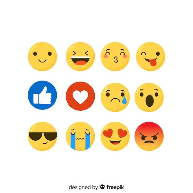 Flache emoticon-reaktion-sammlung Premium Vektoren