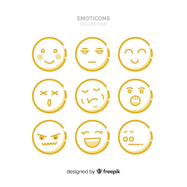 Flache emoticon-reaktion-sammlung Kostenlosen Vektoren