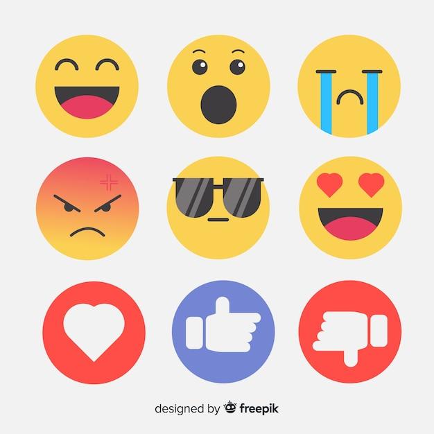 Flache emoticon-reaktionssammlung Kostenlosen Vektoren