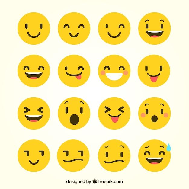 Flache emoticons mit lustigen gesten Premium Vektoren
