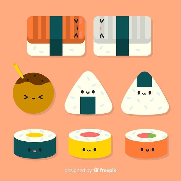 Flache entzückende sushi-sammlung Kostenlosen Vektoren