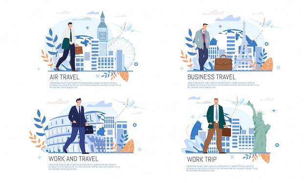 Flache fahne der fluglinien-geschäftsreise-dienstleistungen Premium Vektoren