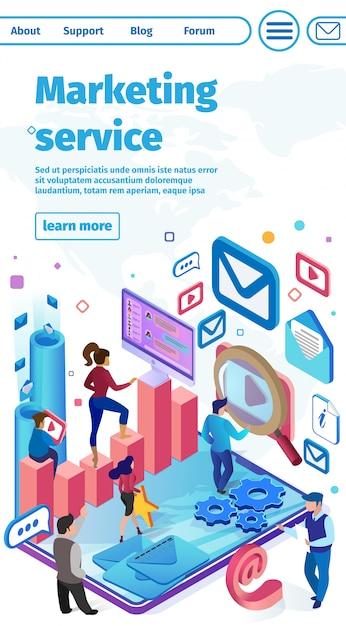 Flache fahne ist marketing services vector geschrieben. Premium Vektoren