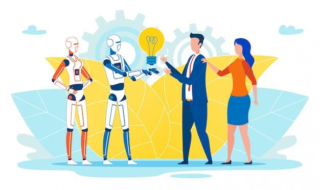 Flache fahne künstliche intelligenz gibt idee. Premium Vektoren