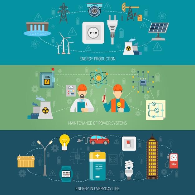 Flache fahnen der energiestromsysteme eingestellt Kostenlosen Vektoren