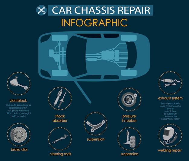 Flache fahnen-große infographic-auto-fahrgestell-reparatur. Premium Vektoren