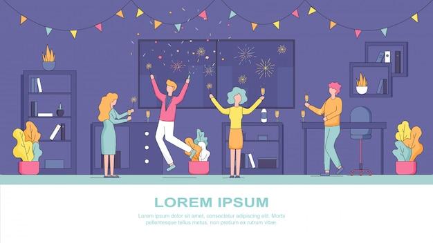 Flache fahnen-illustrations-firmenpartei-angestellte Premium Vektoren