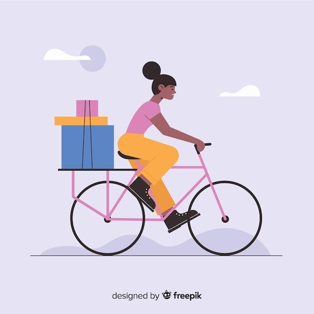 Flache fahrradlieferung mit pakethintergrund Kostenlosen Vektoren
