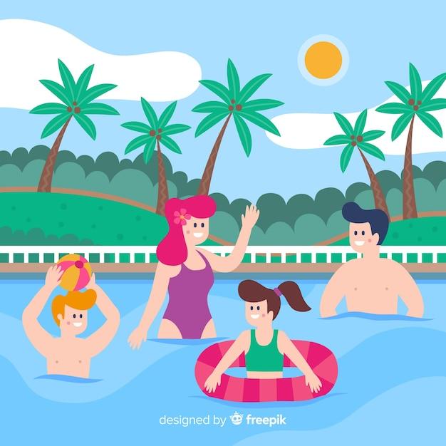 Flache familie, die sommerferien genießt Kostenlosen Vektoren