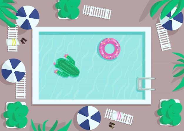 Flache farbabbildung des quadratischen pools der draufsicht. luftmatratzen schwimmen auf dem wasser. hotelanlage. aufblasbarer donut und kaktus. poolside 2d karikaturlandschaft mit liege und regenschirmen auf hintergrund Premium Vektoren
