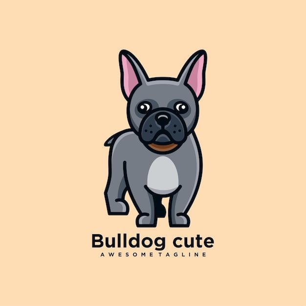 Flache farbe des niedlichen logo-designvektors der bulldoggenkarikatur Premium Vektoren