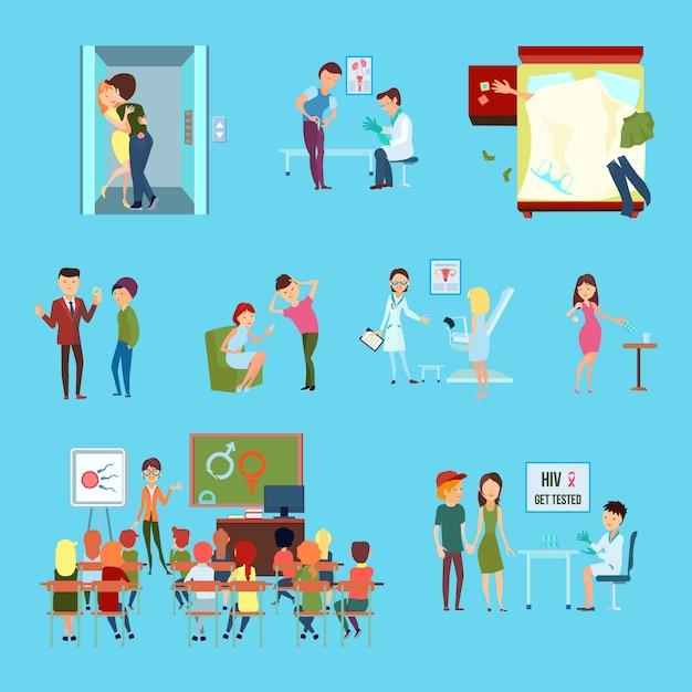 Flache farbige ikone der empfängnisverhütung stellte mit verschiedenen weisen und informationen über empfängnisverhütung ein Kostenlosen Vektoren