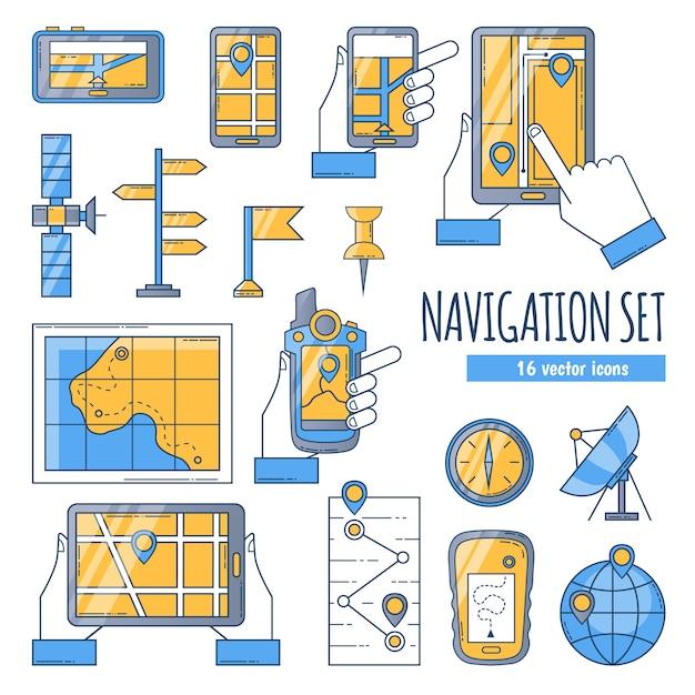 Flache farbikonen der navigation eingestellt Kostenlosen Vektoren
