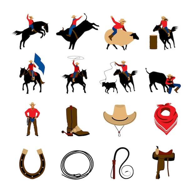 Flache farbikonen des rodeos mit rodeo-cowboys Kostenlosen Vektoren