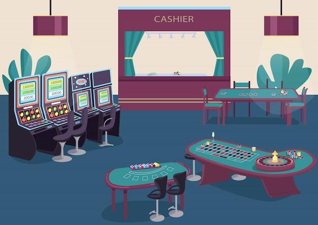 Flache farbillustration des glücksspiels. spielautomatenreihe. grüner tisch, um poker zu spielen. blackjack game desk. innenraum des kasinoraums 2d-karikatur mit kassiererzähler auf hintergrund Premium Vektoren