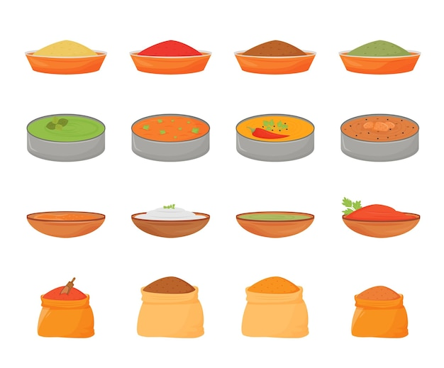 Flache farbobjekte für indische mahlzeiten und gewürze. traditionelles essen in metallthali, aromen in holzschalen und textilsäcken 2d isolierte karikaturillustrationen auf weißem hintergrund Premium Vektoren