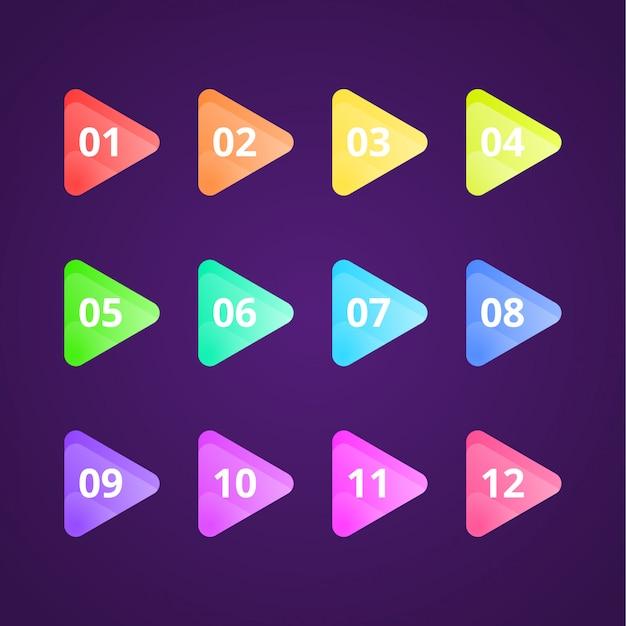 Flache farbverlauf pfeil bullet point collection Premium Vektoren