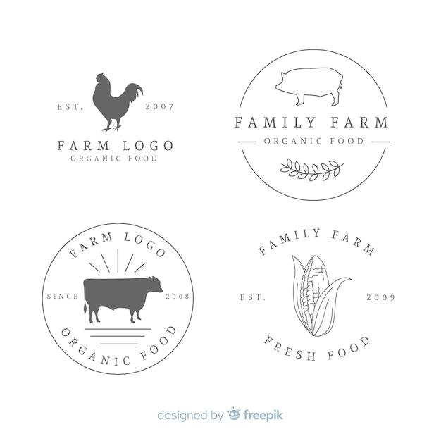 Flache farm-logo-auflistung Kostenlosen Vektoren