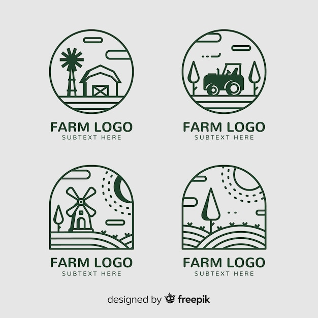 Flache farm-logo-sammlung Kostenlosen Vektoren