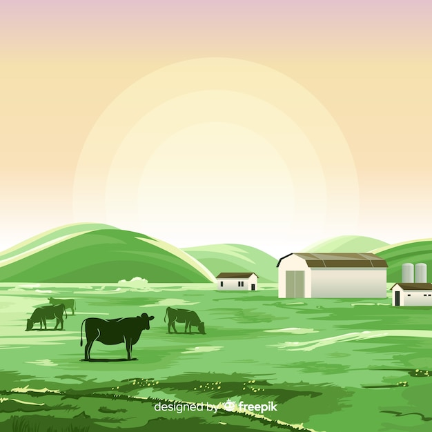 Flache farmlandschaft Kostenlosen Vektoren