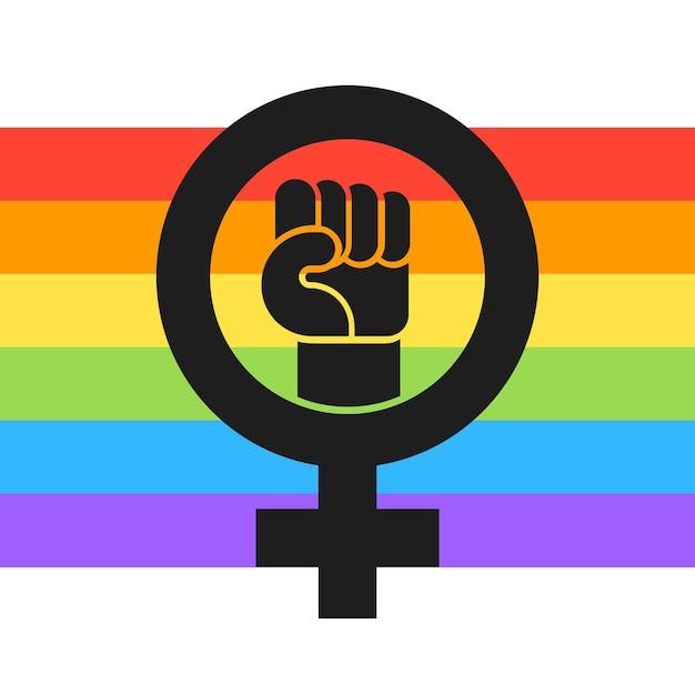 Flache feministische lgbt flaggenillustration Kostenlosen Vektoren