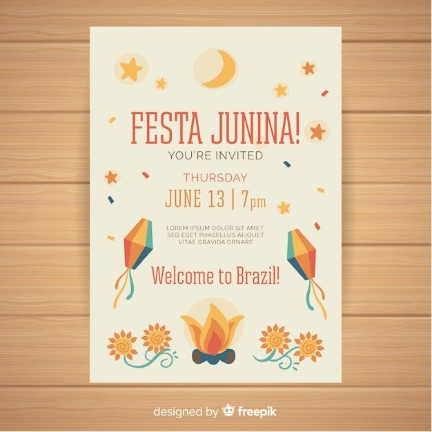 Flache festa junina plakatschablone Kostenlosen Vektoren