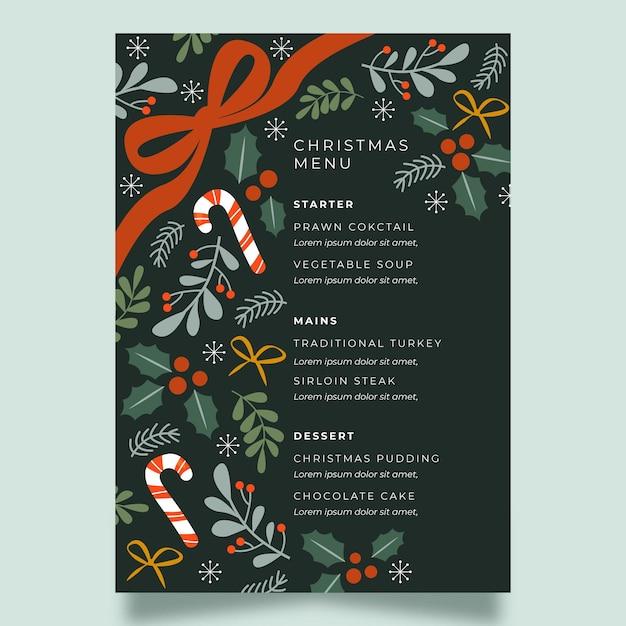 Flache festliche weihnachtsrestaurantmenüschablone Kostenlosen Vektoren