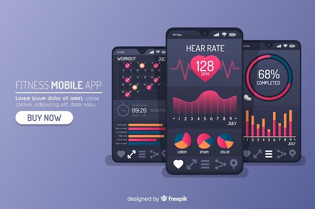 Flache fitness mobile app infografik Kostenlosen Vektoren