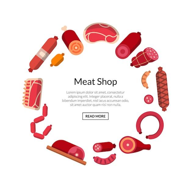 Flache fleisch- und wurstikonen lokalisiert Premium Vektoren
