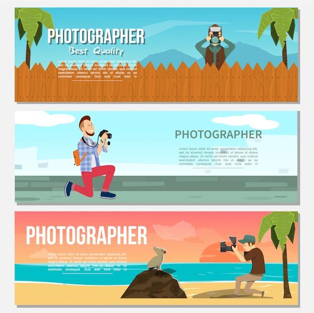 Flache fotografie horizontale banner mit paparazzi tierfotograf foto von nachtmeer und delfinen Kostenlosen Vektoren