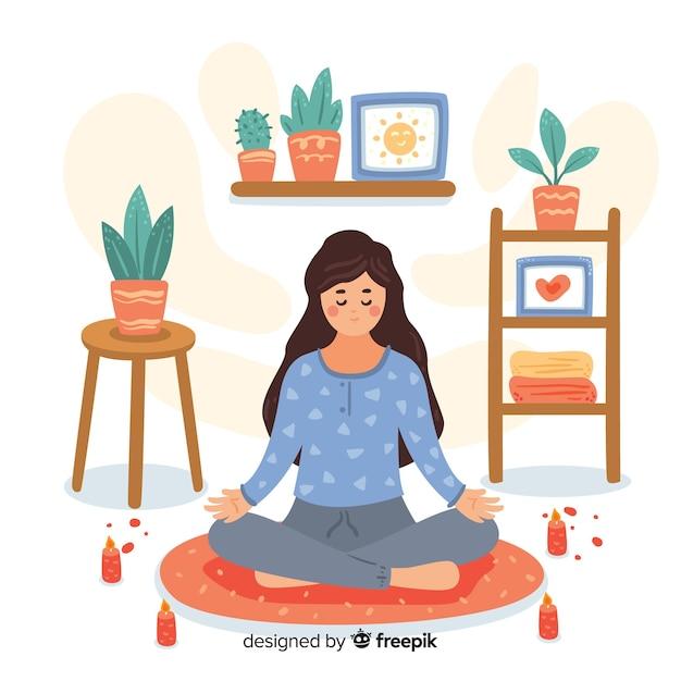 Flache frau, welche die meditation genießt Kostenlosen Vektoren