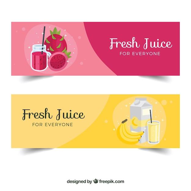 Flache fruchtsaftbanner Kostenlosen Vektoren