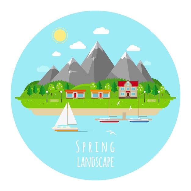Flache frühlingslandschaftsillustration mit grünen hügeln. blüte und frühling, wärme sonne und blauer himmel. Kostenlosen Vektoren