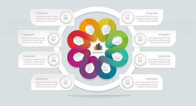 Flache geometrische infographik vorlage mit 8 optionen Premium Vektoren