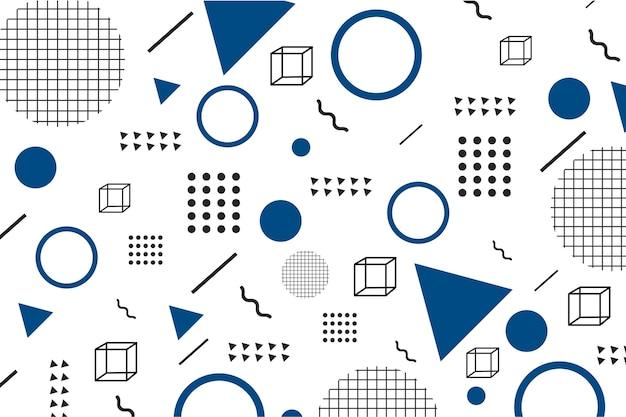 Flache geometrische modelle auf klassischem blauem hintergrund Kostenlosen Vektoren