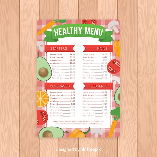 Flache gesunde menüvorlage Kostenlosen Vektoren