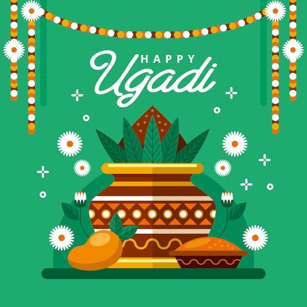 Flache glückliche ugadi illustration Premium Vektoren