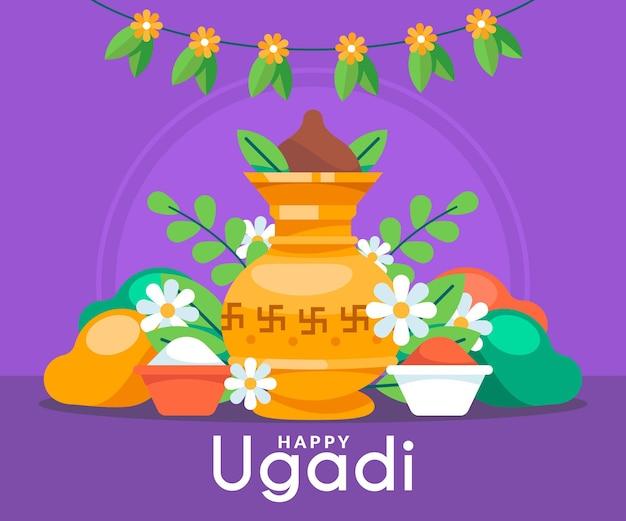 Flache glückliche ugadi illustration Kostenlosen Vektoren