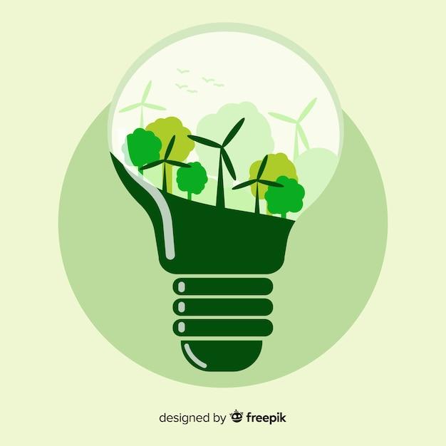 Flache glühbirne mit windkraftanlagen Kostenlosen Vektoren